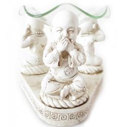 Shaolin monnik oliebrander Wit (Horen, zien, zwijgen)