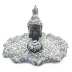 Wierookhouder - Thai Boeddha zwart / grijs cracele schaaltje