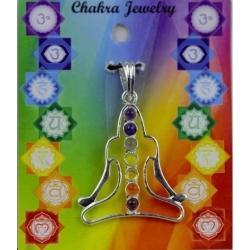 Meditatie symbool hanger met 7 chakra halfedelstenen (messing verzilverd)