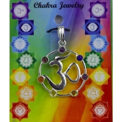 OHM symbool hanger met 7 chakra halfedelstenen (messing verzilverd)