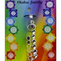 Kundalini hanger met 7 chakra halfedelstenen (messing zilver verguld)