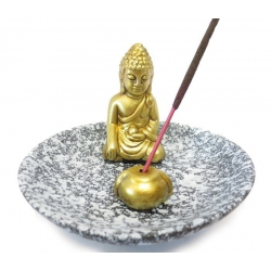 Wierookhouder - Goudkleurige Boeddha op grijs schaaltje
