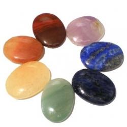 Set 7 Chakra mineraalstenen - ovaal (16574)