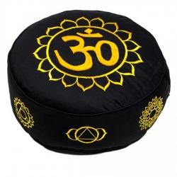 Meditatiekussen goud/zwart 7 chakra's geborduurd (8026)
