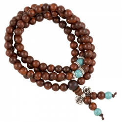 Mala wood elastic with decorative beads and dorje 108 beads + bag