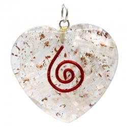 Orgonite pendant selenite heart-shaped