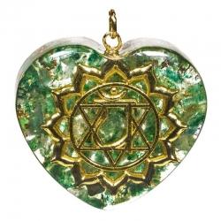 Orgone pendant fourth chakra heart shaped