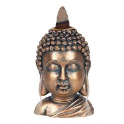 Bronze colored Buddha Head Backflow incense burner