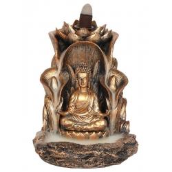 Bronze colored Buddha Backflow incense burner