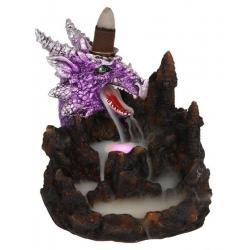 Brûleur d'encens flux de retour dragon violet avec éclairage