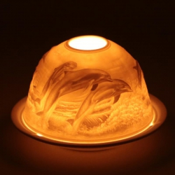 Atmospheric tealight holder Dolphins