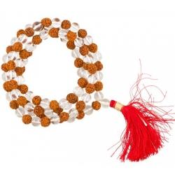 Mala necklace rock crystal / rudraksha AA 108 beads