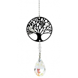 Tree of Life with drop shape rainbow crystal white