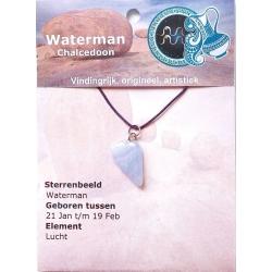 Zodiac sign pendant Aquarius (Chalcedony)