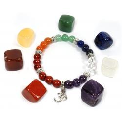 7 Chakra bracelet with OHM + 7 chakra stones set