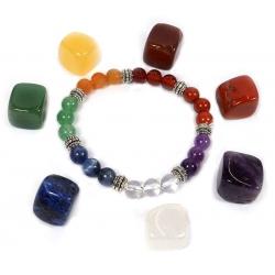 7 Chakra bracelet + 7 chakra stones set